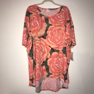 Floral Roses Irma Top LuLaRoe 2X BNWT Peach/ Pink